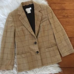 Escada Piacenza Windowpane Grid Blazer Jacket 38